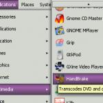 HandBrake in GNOME menu