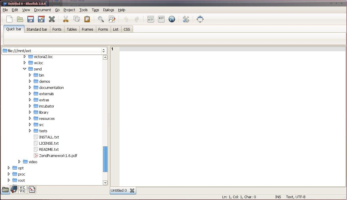 Latest Bluefish PHP IDE in Fedora 12