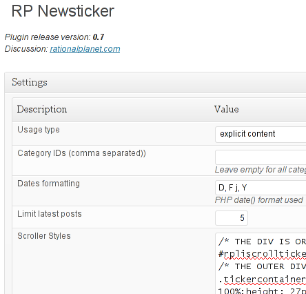 RP Newsticker Plugin for WordPress: Version 0.7 Out